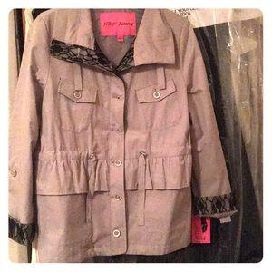 Betsey Johnson Button Down Rain Coat